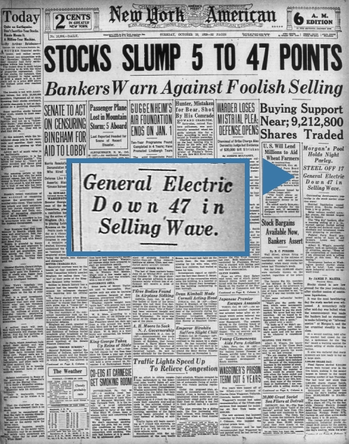 General Electric GE Down 47 in Selling Wave October 1929